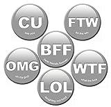 Kühlschrankmagnete Sprüche lustig Magnete für Magnettafel stark 6er Set mit Buchstaben Motiv Emoji Icons groß rund 50mm Grau