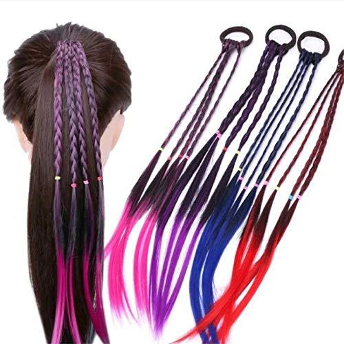 EROSPA® 4 Bunte Haarsträhnen mit Haargummi/Haarband - 40 cm - Haarteil Extension (Blau) -