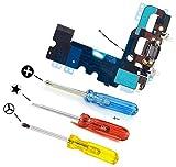 MMOBIEL Connecteur Dock de rechange pour iPhone 7 (Noir de Jais) avec Microphone, prise Jack audio et Antenne pré installés + Tournevis adaptés (x3) pour une installation facile
