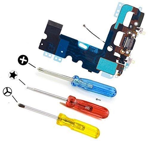 MMOBIEL Dock Connector für iPhone 7 (Schwarz / Jet Black) Ladebuchse Lade Port Anschluss Flexcable 2 x Mikrofone Antenna und Lautsprecher Homebutton Connector installiert inkl 3x Schraubenzieher (Antenne Lautsprecher)