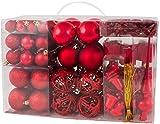 Brubaker 101-piezas de Bolas de Navidad con Copas de árboles Rojos