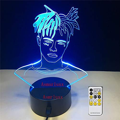 zcmzcm 3D Nachtlicht Skimaske die Slump God Rapper Lampe Illusion 7 Farben Wickeltisch Babybett Dekoration LED Lampe - Wickeltische Babybetten Und