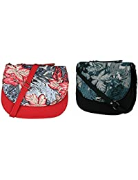 Women's Sling / Side Bag Printed Red And Black