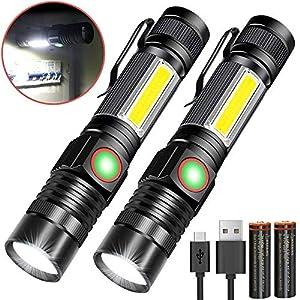 Taschenlampe LED Magnet USB Aufladbar Zoombar (Mit 18650 Akku) Karrong COB Arbeitsleuchte Super Hell, Outdoor Wasserdicht Taschenlampen, 4 Modi für Kinder Outdoor Camping Notfall