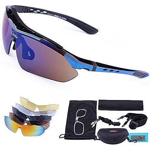 Carfia TR90 UV400 Unisex Gafas de Sol Deportivas Polarizadas 5 Lentes de Cambios Incluido para Deporte y Aire Libre Ciclismo Conducción Pesca Esquiar Golf Correr Negro Brillo +