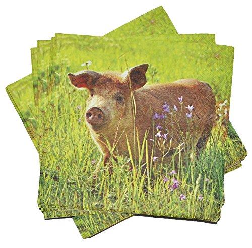 Preisvergleich Produktbild 20 Stk. Servietten - Schwein / Hausschwein / Haustier - Serviette Tischserviette Papier Party - Tiere Sau Eber Tier Bauernhof
