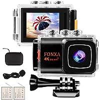 Action Cam 4K Wifi EIS Sport Camera 20MP Ultra Full HD Telecamera subacquea fino a 30 metri Macchina fotografica sportiva con Microfono esterno,Telecomando 2.4G,Batterie ricaricabili 2Pcs e kit di installazione