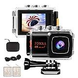 Action Cam 4K WiFi EIS Camera 20MP Ultra Full HD Unterwasser Kamera Helmkamera Wasserdicht mit 2.4G Fernbedienung 2 verbesserten Akkus und Montage Zubehör Kit