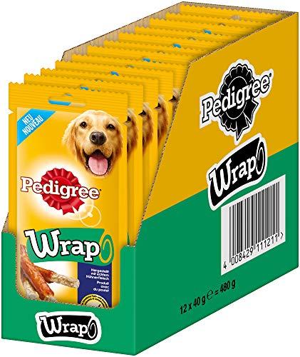 Pedigree Hundesnacks Hundeleckerli Wrap mit Rind und Huhn, 12 Packungen (12 x 40g) (Pet-wrap)