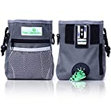 PAW Lifestyles Dog Treat Training Pouch - Easily Carries Pet Toys, Kibble, Treats - Built-In Poop Bag Dispenser - 3 Ways To Wear - Grey