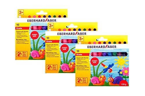 Eberhard Faber 572110 - Mini Kids Club Supersoft Knete 10 Stangen im Kartonetui, Menge:3er Pack (Jugend-clubs Und)