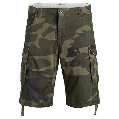 JACK & JONES Herren Cargo Shorts Bermudas (S, Charcoal Grey/Camouflage) (Chino-shorts Charcoal)