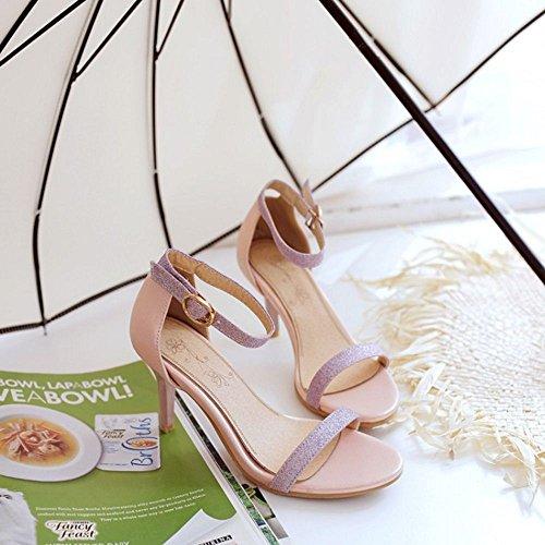 COOLCEPT Femmes Mode Orteil ouvert Talons hauts Talon Aiguille Sandales Sangle de cheville Chaussures Rose