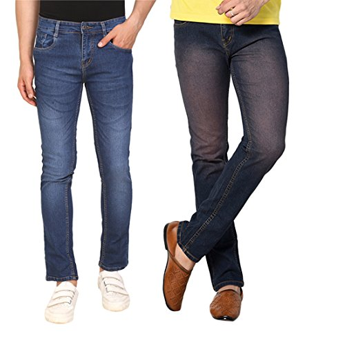 DRUTHERS Men's Combo of 2 Blue Slim Fit Denim Jeans