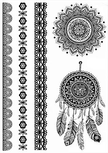 Tatuajes temporales para hombre y mujer con diseño de mandala y flores de 21 x 15 cm
