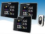 Funk Farb Wetterstation Froggit WS50 TRIPLE (3 Displays) inkl. 1 Funk Thermo-Hygrometer Außensensor, Wettervorhersage, Funkuhr, Temperatur, Luftfeuchte