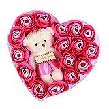 Fantiff Valentine Wedding Mothers Day Cartoon Plüsch Bär Seife Rose Geschenkset Blumendeko