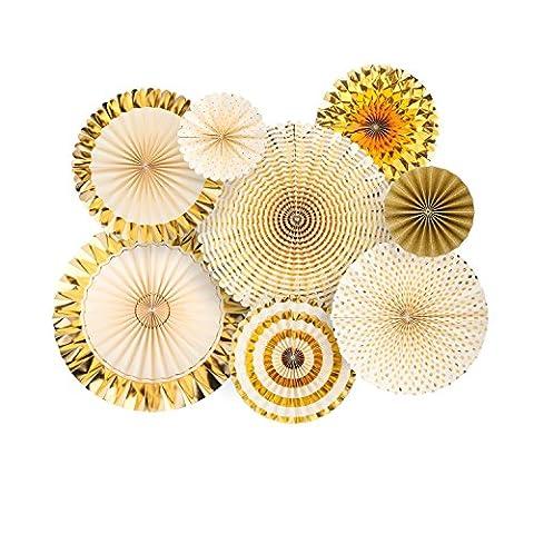 8 PCS ventilateur décoratif papier, BizoeRade, kit fans de paillettes et de papier d'or avec des trombones, pour la maison, fête, mariage, anniversaire