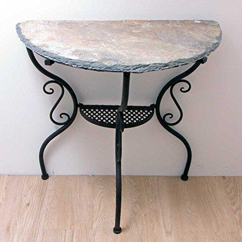 Exklusiver Tisch mit schwerer Steinplatte halbrund B 70 cm Wandtisch