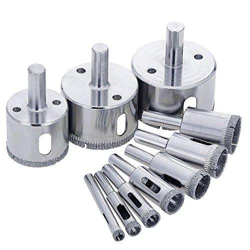 Hole Cutter (10Stück 10–50mm Diamant-Bohrer, beschichtet Core Lochsäge Cutter Extractor Entferner Schneiden Bit-Sets für Glas Fliesen Marmor Granit Schiefer (6, 8mm, 10mm, 14mm, 16mm, 18mm, 22mm, 35mm. 40mm, 50mm))