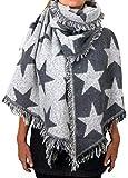 Damen Herbst Winter Schal XXL riesig und extrem flauschig dick Baumwolle Poncho Scarf Blogger kariert Fransen (A-03)