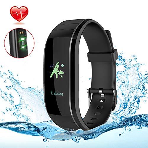 Wasserdicht Fitness Armband mit Farbdisplay, Schrittzähler, Aktivitätstracker, Pulsmesser, Blutdruck, Anrufe/SMS/Whatsapp Message Erinnerung, Fitness tracker kompatibel iPhone Android Handy schwarz