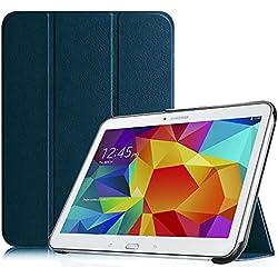 FINTIE Housse pour Tablette Samsung Galaxy Tab 4 10.1 SM-T530 SM-T535 (10.1 Pouces) - Ultra-Mince et Léger PU Cuir étui Coque Case Cover avec la Fonction Sommeil/Réveil Automatique, Blue Marine