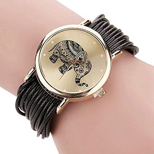 ZXMBIAO Frauen Lederarmband Uhren Elefant Armbanduhren Geschenk Colock, Schwarz