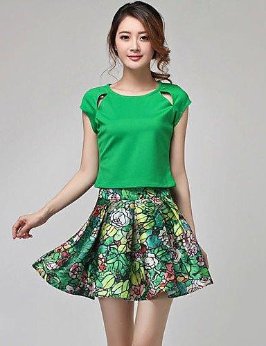 GSP-Europa sveglia stampa camicia floreale da LvBin donne e gonna (Schermo a colori) , screen color-l , screen color-l