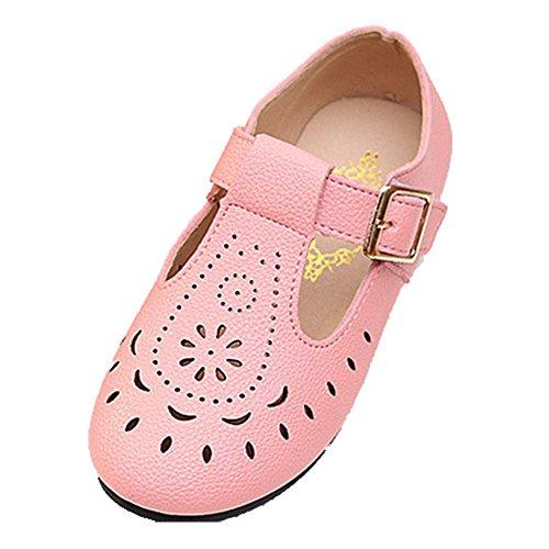 Ohmais Enfants Filles Chaussure cérémonie Ballerines à bride Fête Demoiselle d'honneur Mariage Escarpin pink