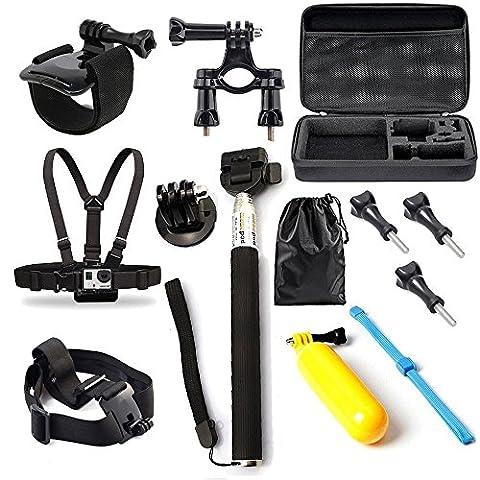 BPS Action Kamera Zubehör Set für GoPro Hero Kamera verfügt Gopro Hero 4 Hero 3 + 3 2 schwarz silber in Fallschirmspringen Radsport Camping und mehr, beinhaltet: Handgelenkhalterung + Brustgurt + Kopfband(mit Beutel)+ einstellbare Teleskopverlängerungsstange + Lenker Sitzrohr und Stangenhalterung+ Schwimmende Handgriff + Stativ Montageadapter + Tasche,passend auch für Rollei AC 300 Rollei 400 Rollei 410 Rollei 420.