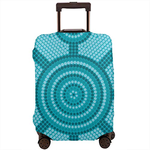 Travel Suitcase Protector,Abstract Aboriginal Dot Painting Ancient Native Ethnic Cultural Art In Australia,Suitcase Cover Washable Luggage Cover XL Black Skull Hard Case