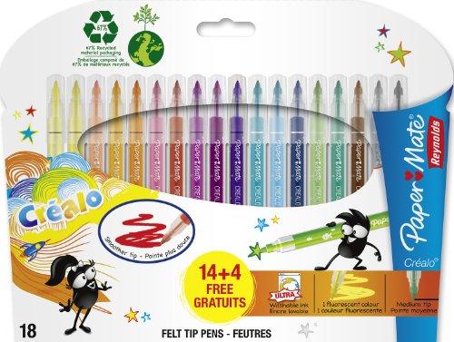 papermate-reynolds-crealo-feutres-de-coloriage-super-lavables-lot-de-18