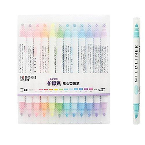 Textmarker - sunshineBoby Runde und schräge Kopf Marker Pens Fine Brush Marker Pen Grafik Zeichnung - 12 Farben - Doppelnutzen (Mehrfarbig)