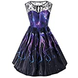 OverDose Damen Frühling Sommer Spitze ärmelloses Abendkleid Party Kleid Vintage Kleider Schwingen Kleid Cocktailkleid Rockabilly Kleid(C-Black,S)