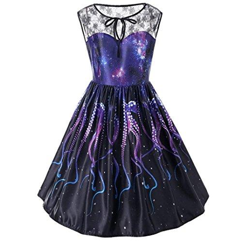 OVERDOSE Damen Frühling Sommer Spitze ärmelloses Abendkleid Party Kleid Vintage Kleider Schwingen Kleid Cocktailkleid Rockabilly Kleid(C-Black,3XL) (Butterfly Kleider Für Kleinkinder)