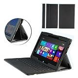 NAVITECH - Funda Polipiel Negro Plegable Con Acceso Completo A Todas Las Funciones De La Tablet Para Microsoft Surface Rt Windows 8, 10.6 Pulgadas