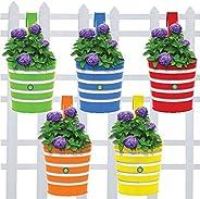 TrustBasket Metal Railing Planters, Multicolour, 15 cm x 15 cm, Pack of 5.