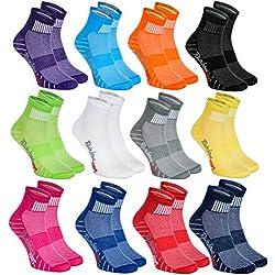 Rainbow Socks 12 pares de Calcetines Modernos, Originales y Deportivos en 12 Colores de moda. Se fabrican en la UE! Tamaños 39 40 41 Ideal para que el pie Respire! La Calidad Superior! Oeko-Tex!