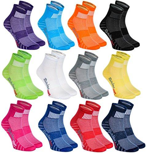 Rainbow Socks 12 Paar Sportliche Socken Moderne Originelle bunte Socken in 12 modischen Farben; in der EU produziert; Größen 44-46. Ideal, wenn der Fuß frei atmen muss. Höchste Qualität. Öko-Tex!