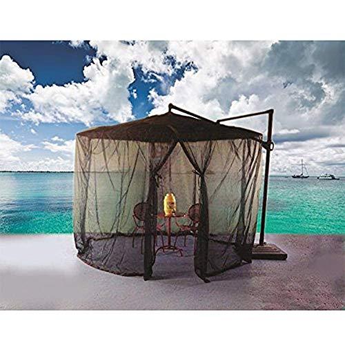 Hspoup Regenschirm-Moskitonetz und Insektennetz im Freien mit Reißverschlussöffnung - atmungsaktives gewobenes Polyesternetz - passt für 7 'oder 9' Regenschirm,335cm*220cm (Ft 9 Sonnenschirm)