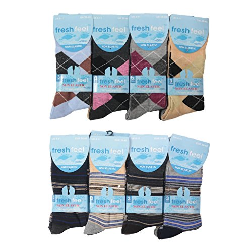 12pairs Mens Non Elastic Soft Grip Diabetic Socks Vibrant Colour Design Pattern Dress Socks UK Shoe Size 6-11