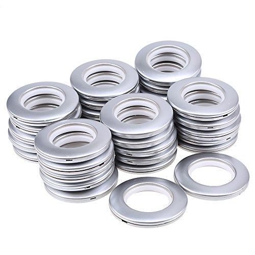 whosee 20Stück Dia 7,1cm Kunststoff Öse Ring Vorhängen Vorhang Tape Schnalle Nano Schalldämpfer Ring matt silberfarben Nano 4 Snap
