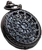 #9: LMP3Creation Black Classic Vintage Retro Antique Spider Web Net Small Love Heart Shape Round Hole Belt Pocket Watch With Chain (POW-0072)