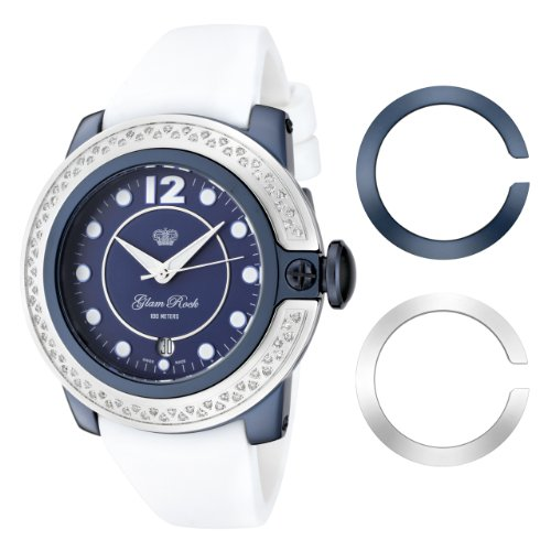 Glam Rock Women's GR32049D SoBe Diamond Accented Blue Dial White Silicone Watch