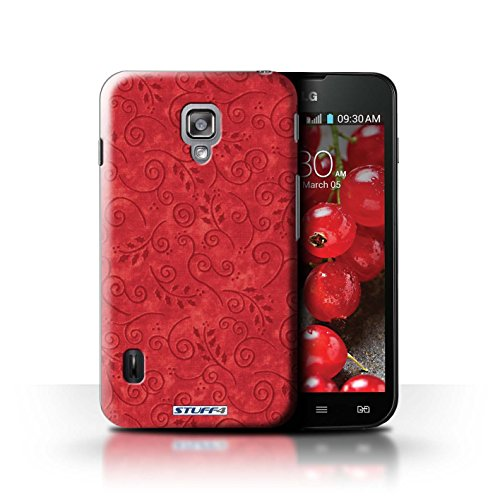 Kobalt® Imprimé Etui / Coque pour LG Optimus L7 II Dual / Jaune conception / Série Motif Feuille Remous Rouge