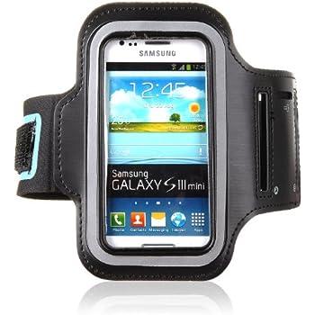 tinxi® Neopren Sport Armband Tasche Armtasche Schutzhülle Etui Case Hülle Handytasche für Samsung Galaxy S3 mini Samsung Galaxy S Duos S7562 Sport Jogging und Fitnessstudio (Schwarz)