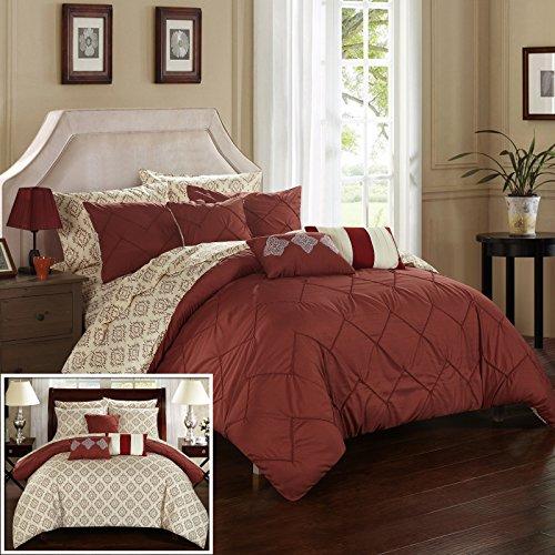 Chic Home cs2029-an 10Stück Maddie Seil wie Pinch Bundfaltenhose Wende Oversize und angesammelt Bett in einem Beutel Tröster Set mit Bogen Set, Queen, Marsala (Bett In Einem Beutel-ensembles)