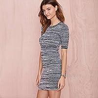 Good dress Falda Del Suéter de la Cadera Del Paquete de Color de Moda Costura Del Punto de la Costilla Delgada Atractiva , gris , METRO