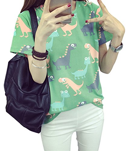 hqclothingbox Women Animal Dinosaur Printing T-shirt Summer Japanese Harajuku Style Short-sleeved Tops